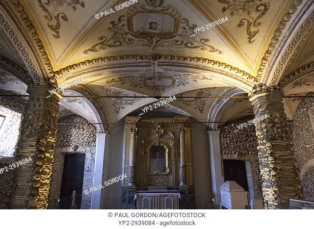 Évora, Portugal: Altar of the Capela dos Ossos (Chapel of Bones). The important monument was built in the 16th century by a Franciscan monk next to the Church...