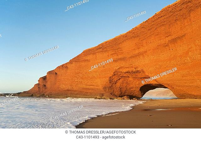 Morocco - Rock arch at the Atlantic Ocean at Legzira beach, 11km north of the town of Sidi Ifni in southwest Morocco