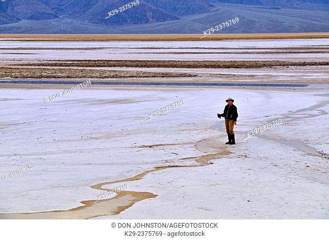 Photographing in the Cottonball Basin. Death Valley National Park, California, USA