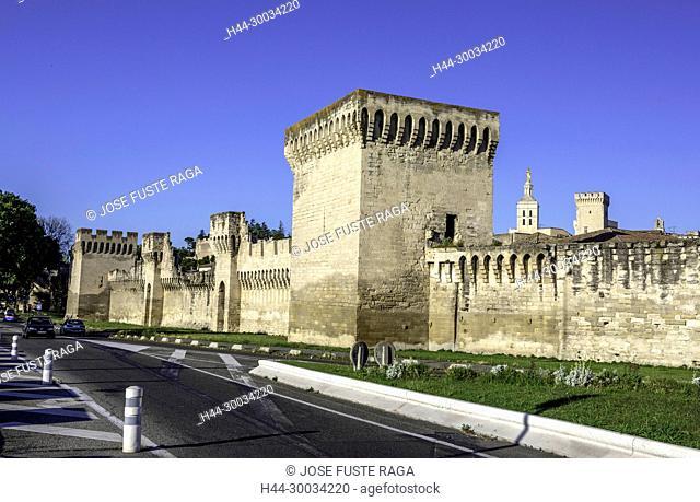 France, Provence region, Avignon city, the Popes Palace , Walls of Avignon
