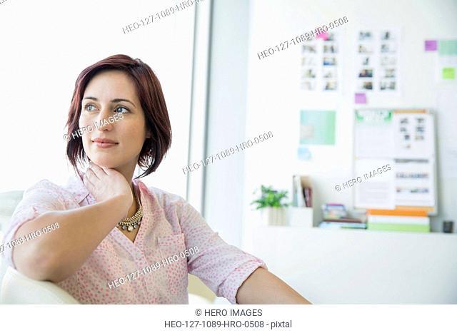 Pensive businesswoman in office