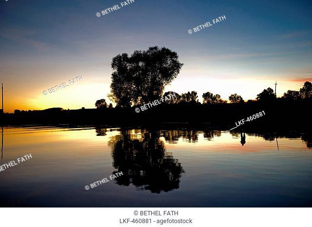 River scenery in sunset, Narew National Park, Podlaskie Voivodeship, Poland