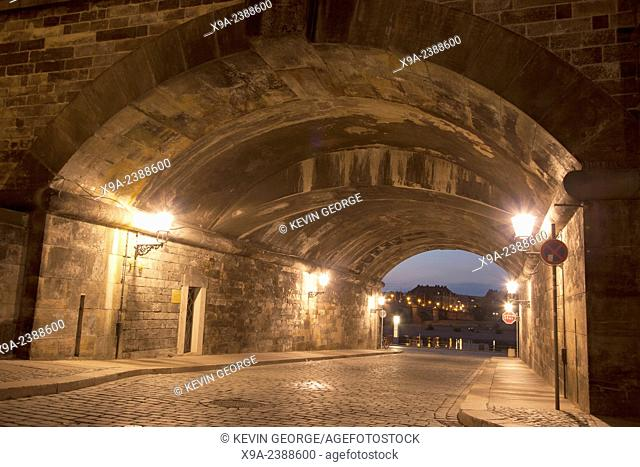Tunnel and Street Illuminated at Night, Dresden, Germany