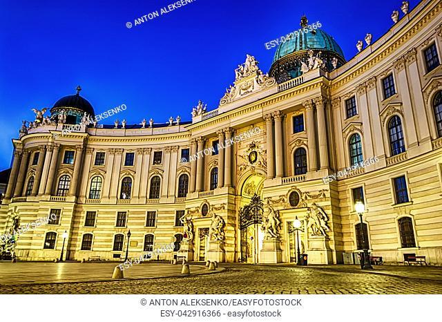 Hofburg, St. Michael's Wing, Vienna, Austria night view no people