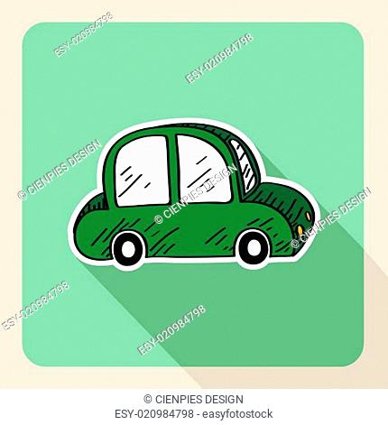 Hand drawn green car rental concept