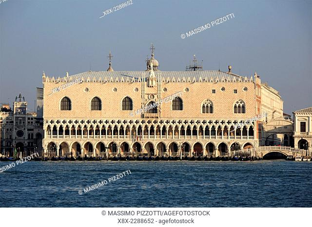 Doge's Palace in St. Mark's Square seen from Saint George's island, Venice, Italy