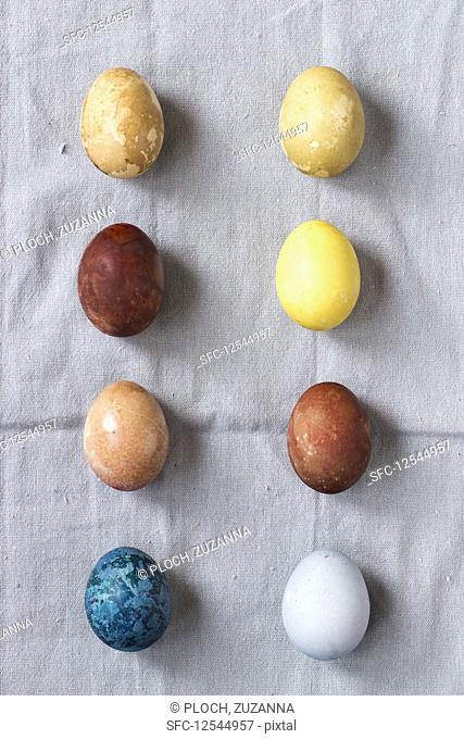 Eggs, coloured with natural dyes: Blue - red cabbage, yellow - turmeric, brown - red onion, red - beets, light green - spinach, light brown - tea