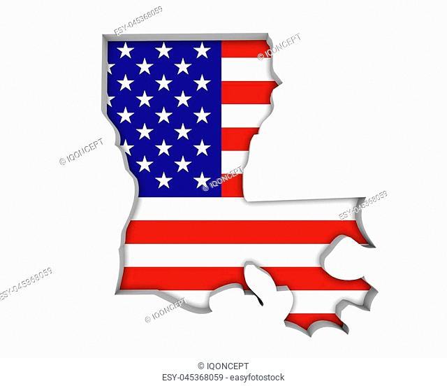 Louisiana LA USA Flag Stars Stripes Map 3d Illustration