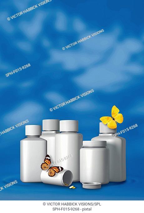 Generic pill bottles and butterflies, illustration