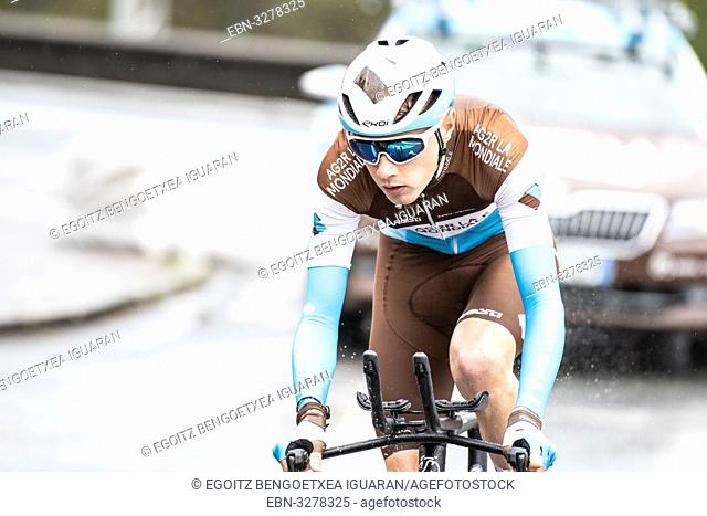 Clément Chevrier at Zumarraga, at the first stage of Itzulia, Basque Country Tour. Cycling Time Trial race