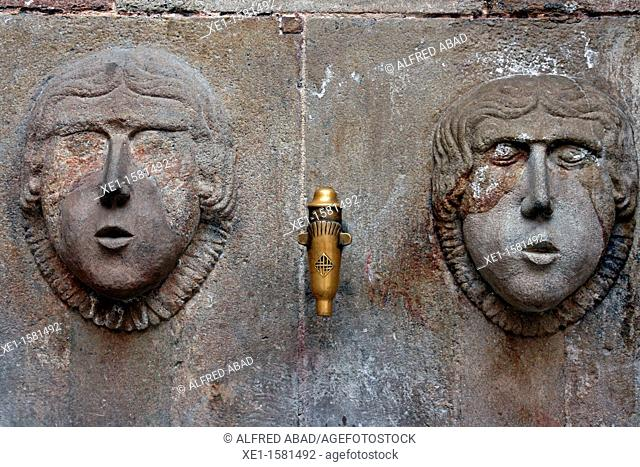 source, Sant Just square, Gothic Quarter, Barcelona, Catalonia, Spain