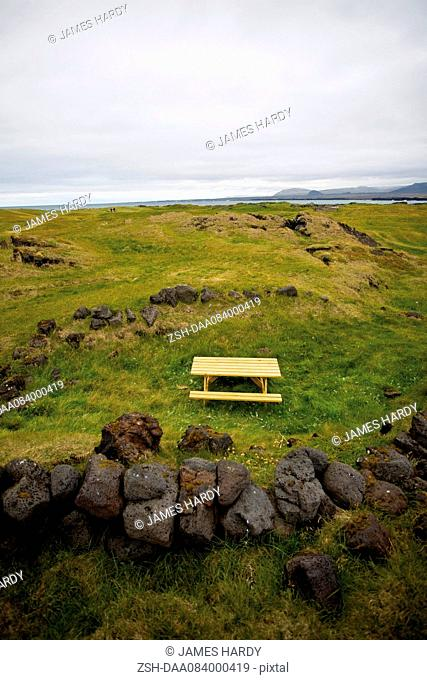 Lone picnic table in countryside, Ondverdarnes, Snaefellsnes Peninsula, Iceland