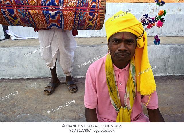 Tribal men dressed traditionally at Mainpat ( Chhattisgarh state, India)