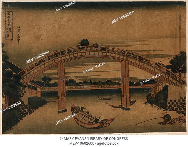 Below Mannen Bridge at Fukagawa. Print shows pedestrians crossing bridge spanning river, with boats on the river and and a person fishing from a rock