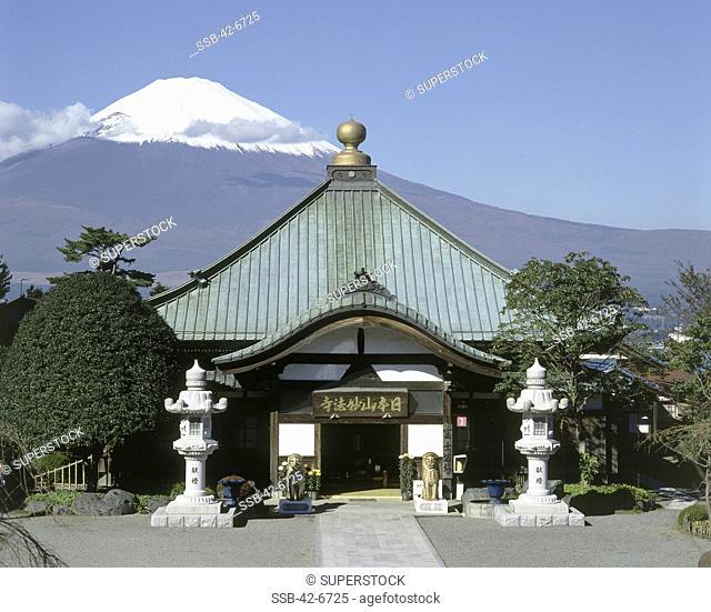 Facade of a temple, Nihonsanmyohoji Temple, Mount Fuji, Japan