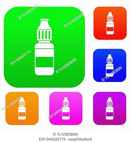 Liquid for electronic cigarettes set icon in different colors isolated illustration. Premium collection