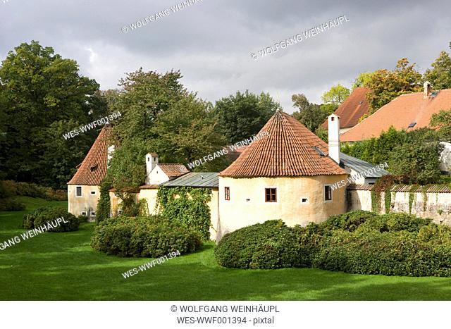 Czech Republic, Bohemia, Trebon, View of city wall against sky