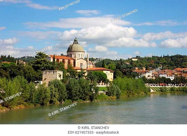 Church San Giorgio in Braida at River Adige