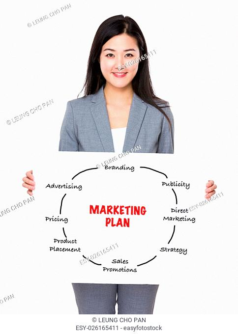 Businesswoman holding a poster showing marketing plan concept