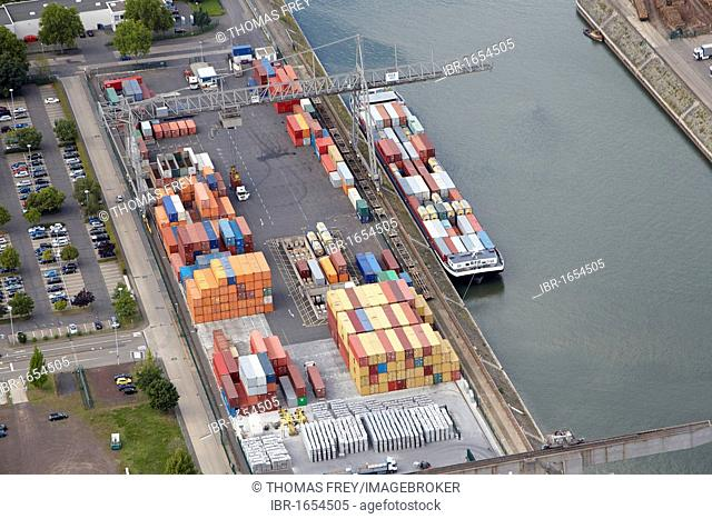 Aerial view, Rheinhafen port, Koblenz, Rhineland-Palatinate, Germany, Europe