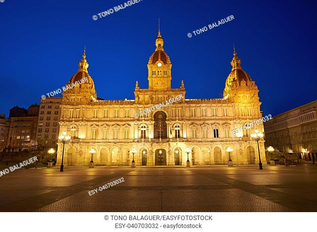 La Coruna City town hall sunset in Maria Pita Square of Galicia Spain