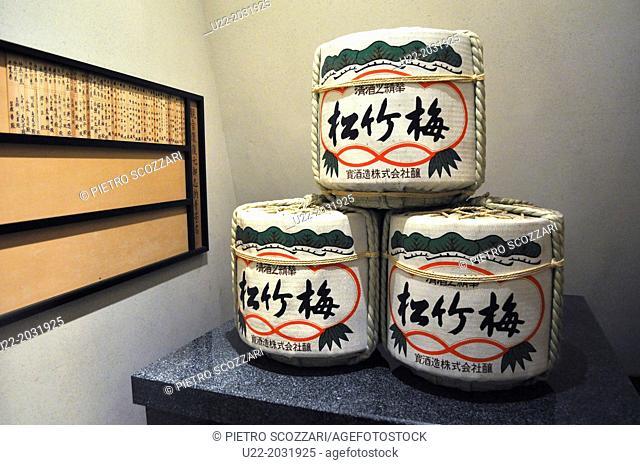 Ofuna, Kanagawa, Japan, sake barrels at Ofuna Kannon Temple