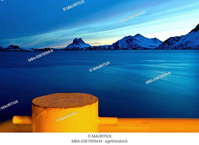 Blue hour, harbour, sea, landing pier, Rokkvika, Stamsund, Lofoten, Norway