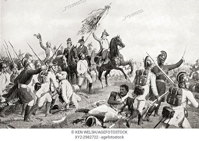 The Battle of Aspern-Essling, Lobau, Vienna, 21-22 May 1809. From Hutchinson's History of the Nations, published 1915