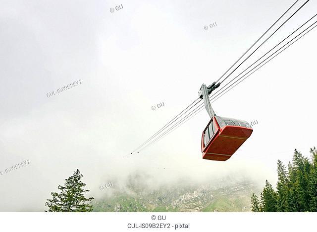 Cable car in mist, Mount Pilatus, Switzerland