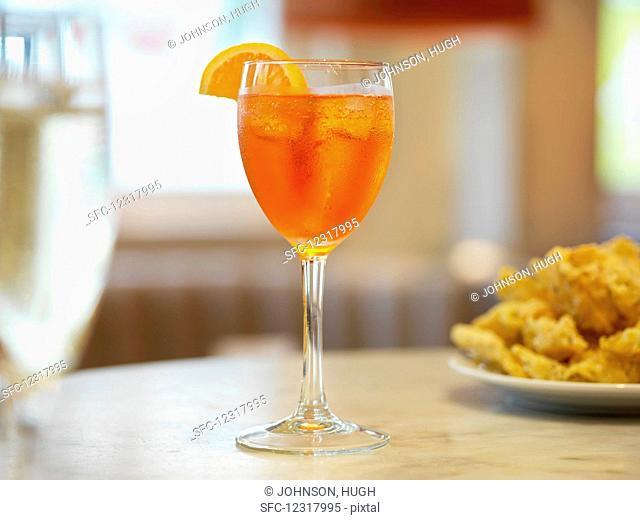 Aperol spritz on a restaurant table