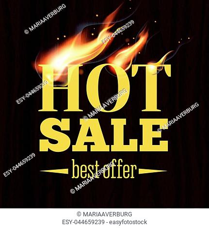 Fire realistic background. Hot sale. Vector illustration