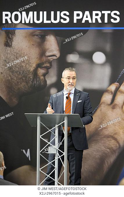 Romulus, Michigan - Pietro Gorlier, Head of Parts and Service for Fiat Chrysler Automobiles, speaks at the opening of a new Mopar auto parts distribution center