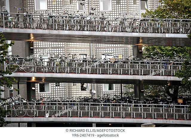Bicycle parking garage or Fietsflat at the Central Station in Amsterdam