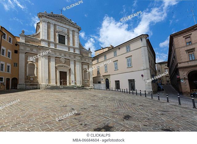View of Saint Giovanni church and the historical buildings of the medieval old town Macerata Marche Italy Europe