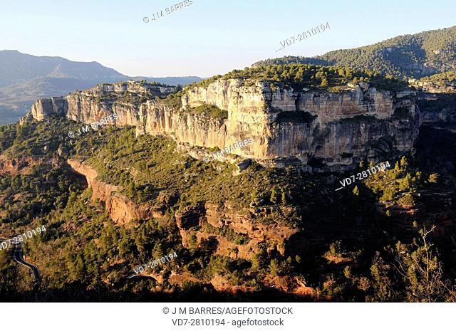 Strata of sandstone (red) from Buntsandstein (down) and limestone from Muschelkalk (up). . This photo was taken in Siurana, Tarragona, Catalonia, Spain