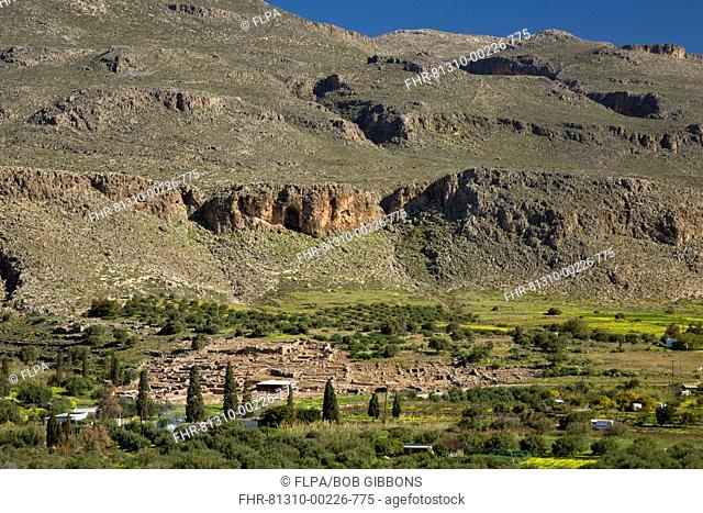 View of countryside and ancient minoan ruins, Kato Zakros, Crete, Greece, April