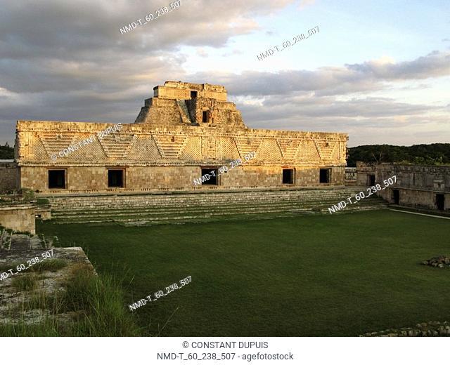 Garden in front of an old building, Nunnery Quadrangle, Uxmal, Yucatan, Mexico