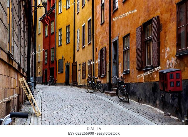 Narrow Street in Old Town (Gamla Stan) of Stockholm, Sweden