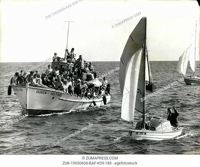 Jun. 06, 1965 - Robert Manry in 'Tinkerbelle' arriving in Falmouth, Cornwall after crossing the Atlantic from Falmouth, Massachusetts