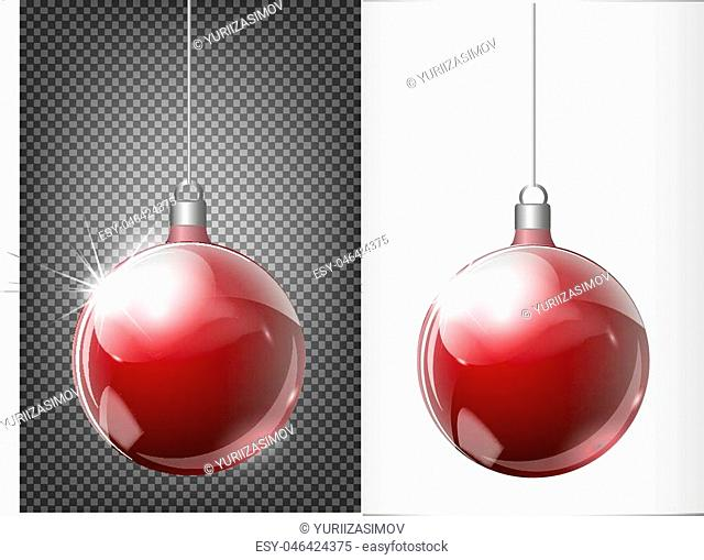 Glass red Christmas toy on a transparent background. Stocking Christmas decorations. Transparent vektor object for design, mocap. Vector illustration