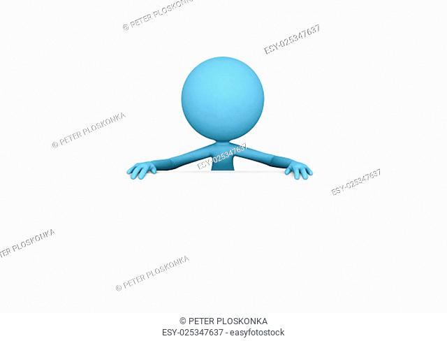 Blue 3D guy on white board
