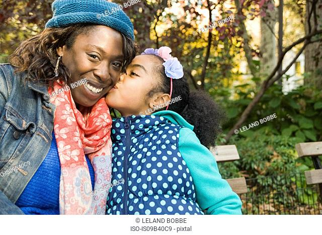 Daughter kissing smiling mother on cheek
