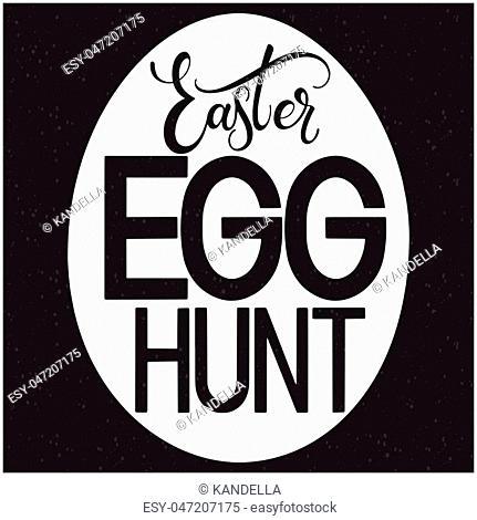 Easter Egg Hunt lettering. Hand written Easter phrases. Seasons Greetings