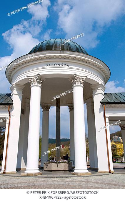 Neoclassical style Kolonada the colonnades (1869) at Karolinin pramen spring in Spa Gardens park Marianske Lazne aka Marienbad spa town Czech Republic Europe