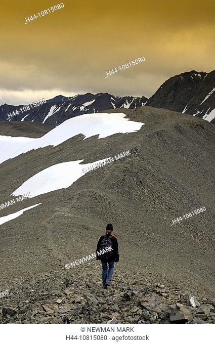 Hiking, mountains, woman, trail, path, rucksack, landscape, snow, King Throne Trail, Kluane, national park, Yukon Terr