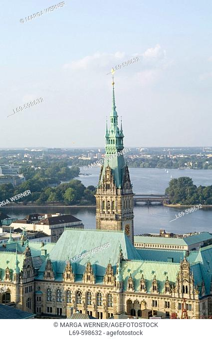 View on Hamburg city with town hall and river Alster. Germany