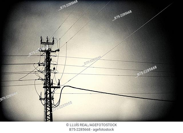 Electrical tower of high voltage network in Israel