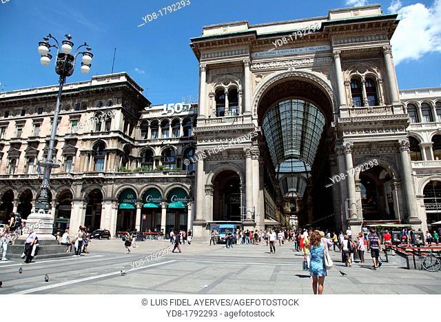 Tourists visiting the Galleria Vittorio Emanuele - Milan Italy