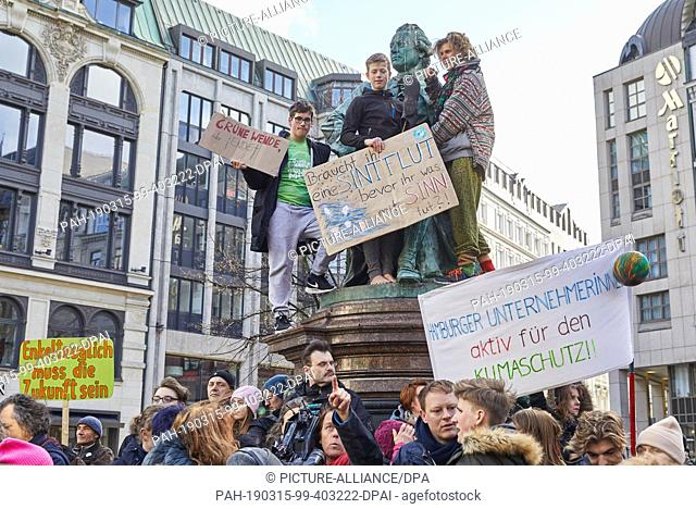 "15 March 2019, Hamburg: Climate activists hold banners at the Lessing memorial at Gänsemarkt with the inscriptions """"Grüne Wende sonst Ende"""" and..."