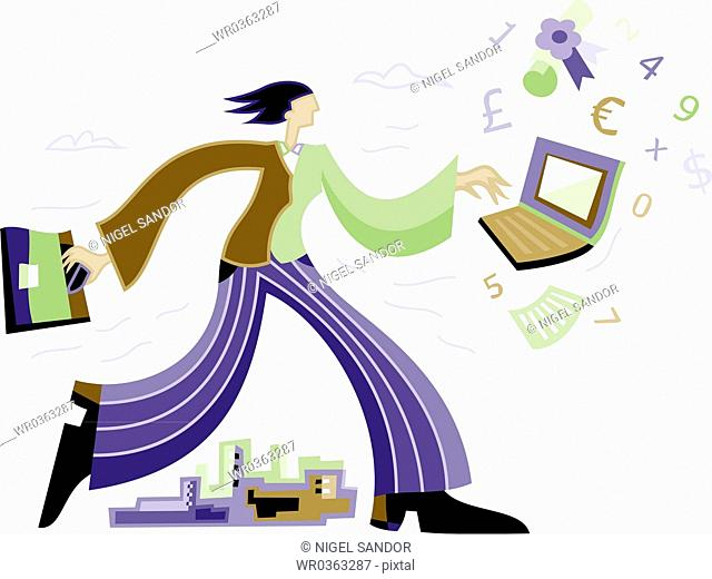 businesswoman running with computer